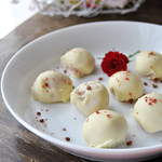 White Chocolate Strawberry Truffles with Pink Peppercorn