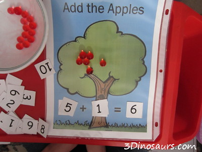 Apple Counting and Math with Water Beads (Photo from 3 Dinosaurs)
