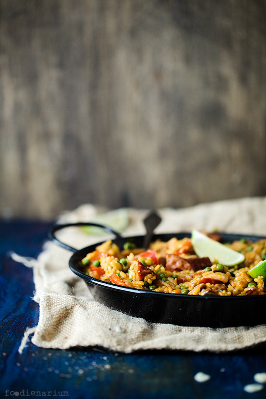 Paella with veggies, chorizo and chicken