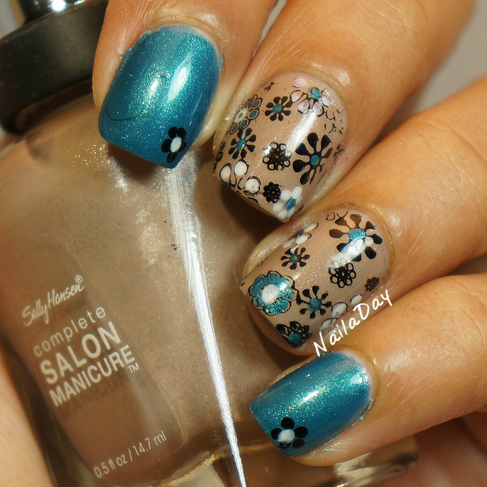 NailaDay: Rimmel Marine Blue and Sally Hansen Fedora flowers