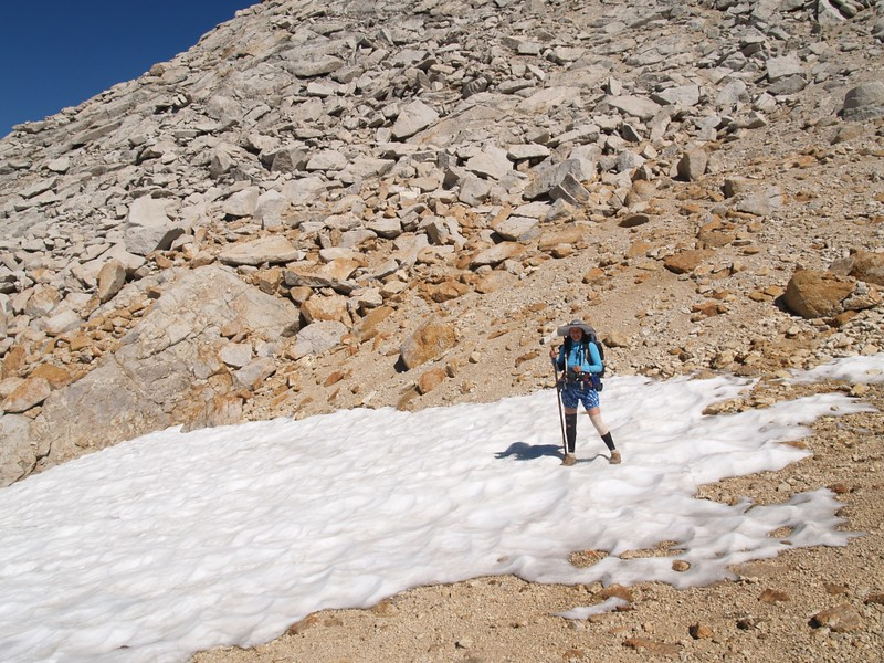 Still some snow on the northern side of Don't Be A Smart Pass