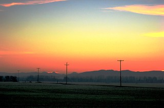 Frosty Red Morning ~ Sunrise ~ Power Poles ~ Three Sisters Mountains ~ ARTSY