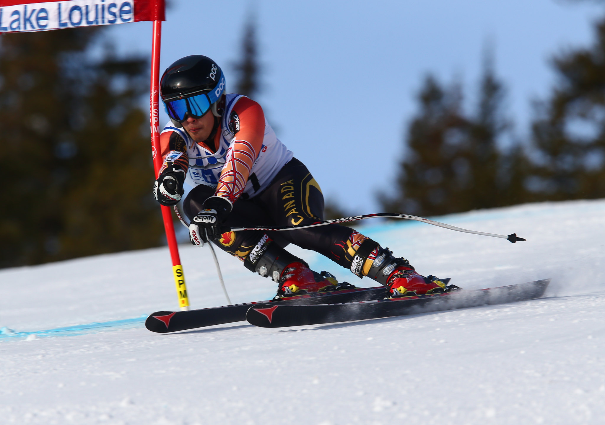 Morgan Pridy tackles the downhill course in training in Lake Louise, CAN