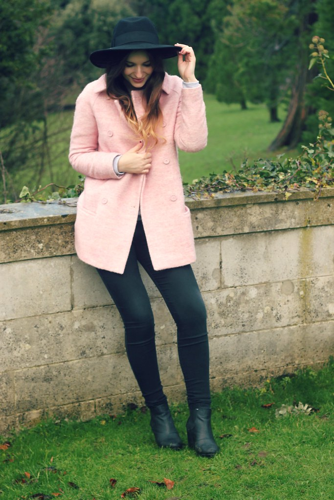 Pink Zara Coat Black Fedora