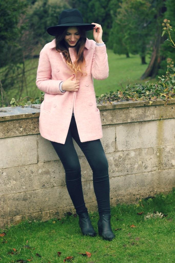 Pink Zara Coat Black Fedora