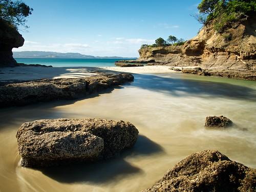 longexposure sea newzealand beach water rock northisland rodney flatrock tawharanui aucklandarea