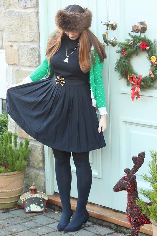 outfit post, fur hat, little black dress