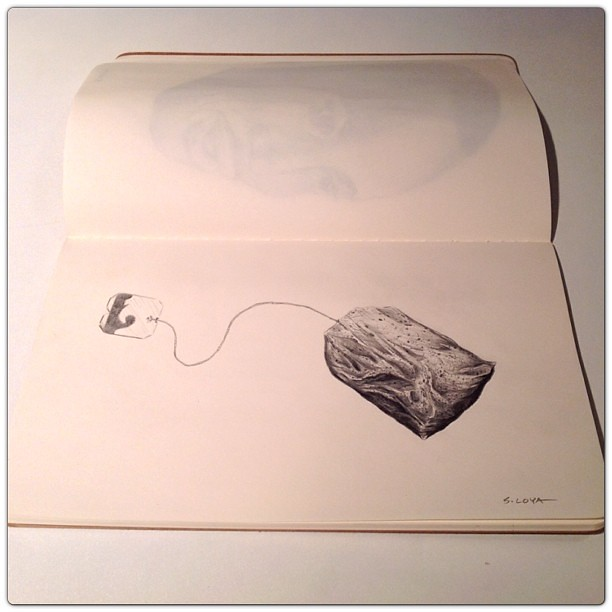 Tea Bag Drawing Used Tea Bag