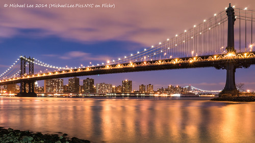 park bridge blue newyork reflection ferry brooklyn night river lights long exposure manhattan east hour empire fulton