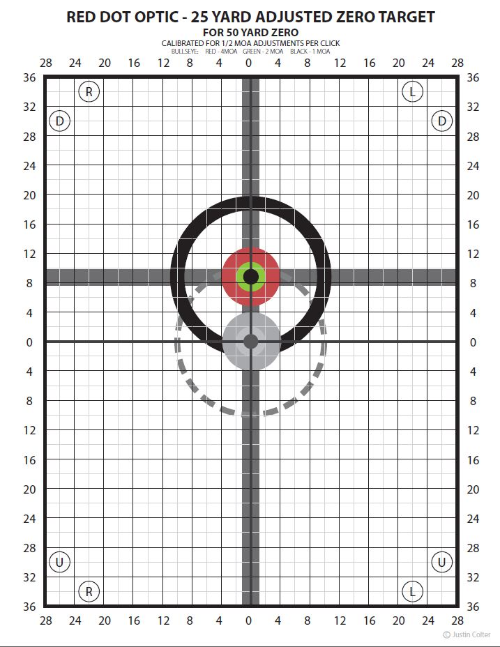 Updated zero targets optimized for red dot style optics aimpoint