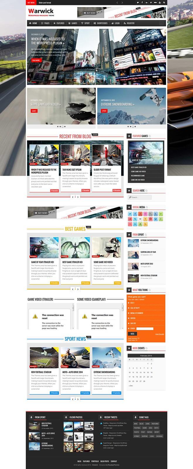 Warwick Responsive News Magazine WordPress Theme