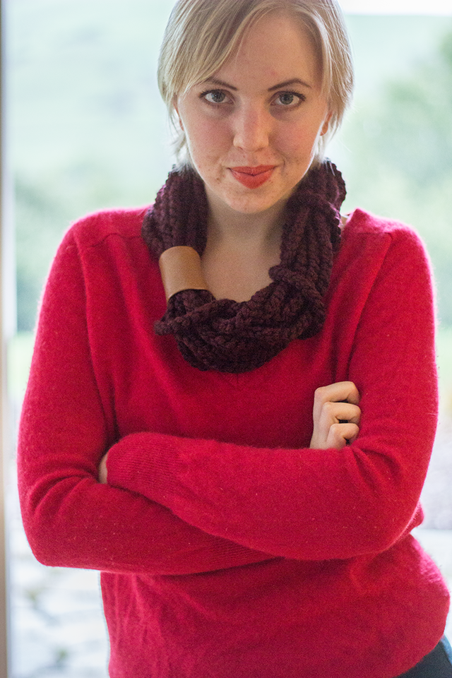 handmade knitted burgundy cowl, warm red cashmere sweater