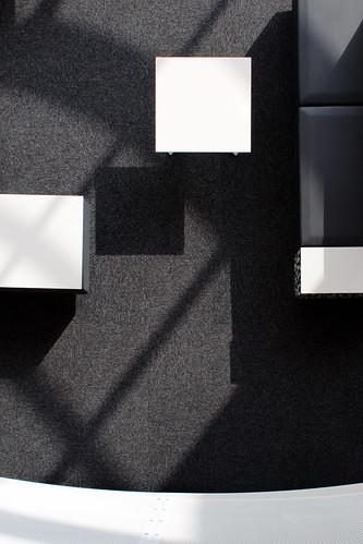 Tables, seating, shadows