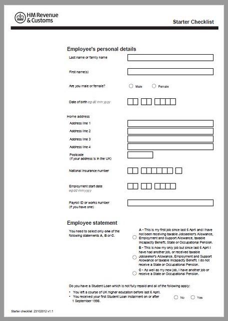 new starter bank details form