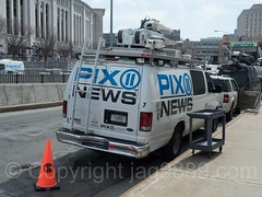 PIX 11 News Satellite Truck, 2017 Yankees Home Opener at Yankee Stadium, The Bronx, New York City
