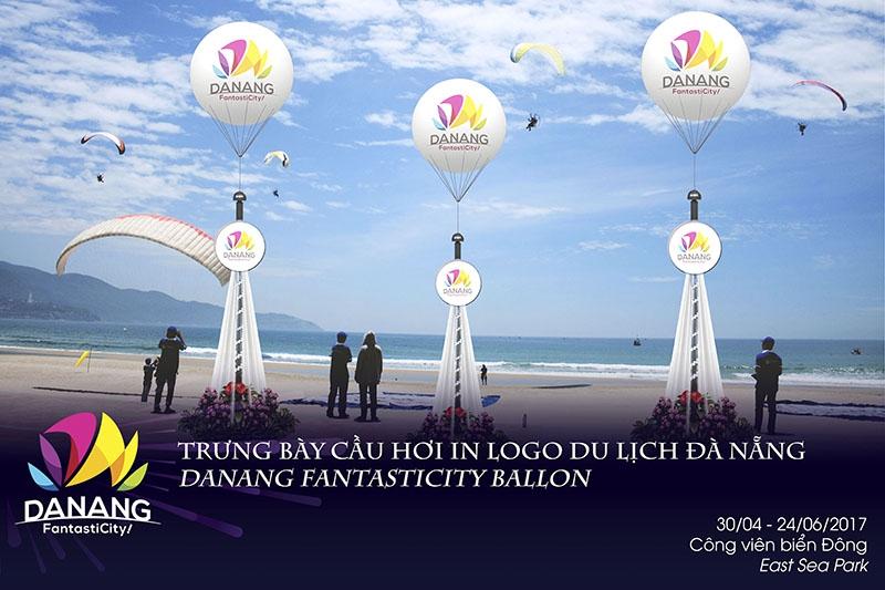 Trưng bày cầu hơi in logo du lịch Đà Nẵng