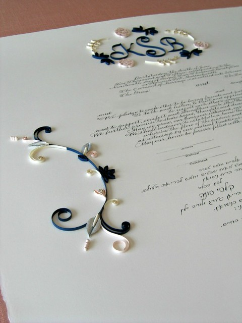 Wedding Ketubah with Navy and Blush Quilling