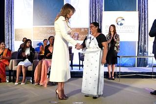 First Lady Melania Trump Presents the International Women of Courage Award to Sandya Eknelygoda of Sri Lanka