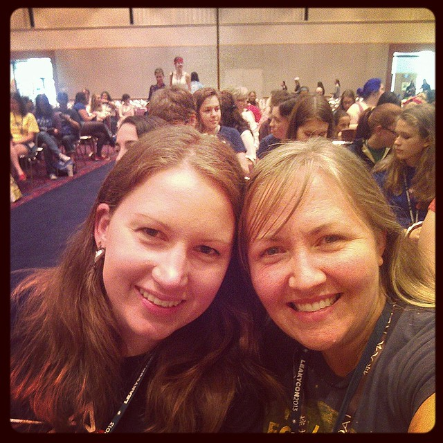 Jen and me waiting for a panel to start at LeakyCon