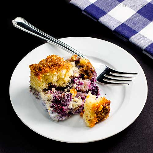 Blueberry Buckle on plate with fork