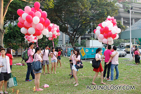 Pink balloons for everyone to pose with
