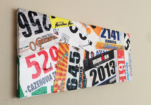 DIY triathlon medal display hanger or rack