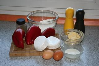Quiche de queso de cabra y pimientos rojos asados.