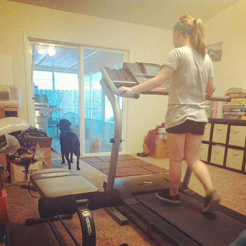 Robert found a treadmill on Craigslist, Carus has been on it most of the evening.
