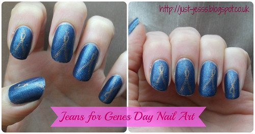 NOTD Jeans for Genes Day Nail Art