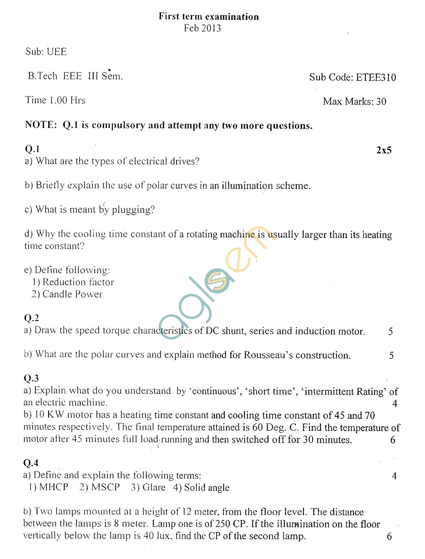 GGSIPU Question Papers Sixth Semester – First Term 2013 – ETEE-310