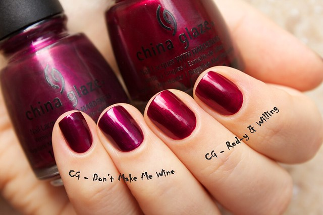 08 China Glaze Autumn Nights compare Don't Make Me Wine vs Red y & Willing copy