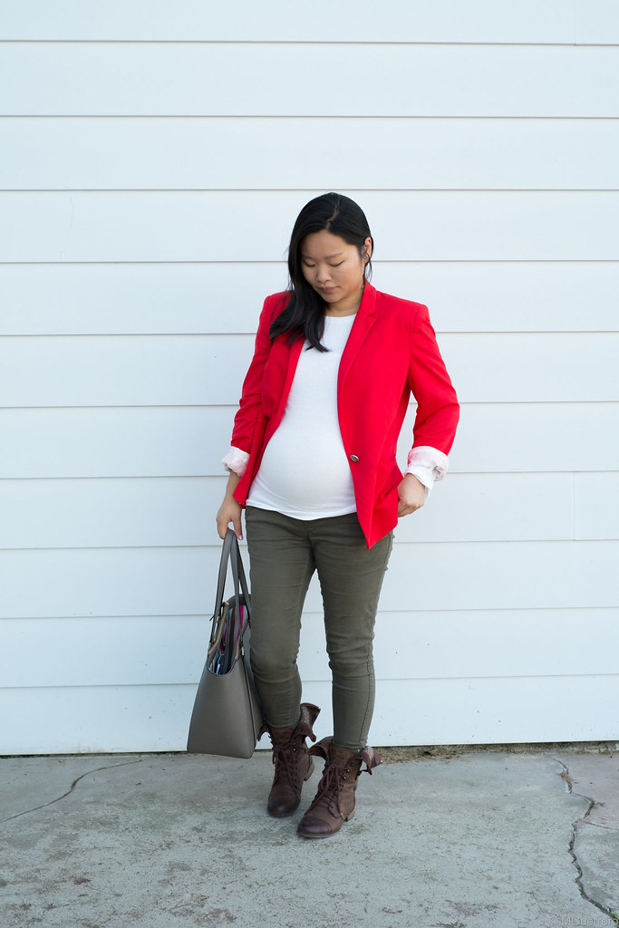 Zara red blazer, Old Navy olive skinny pants, Kate Spade grey purse, Steve Madden combat boots, Steve Madden brown boots