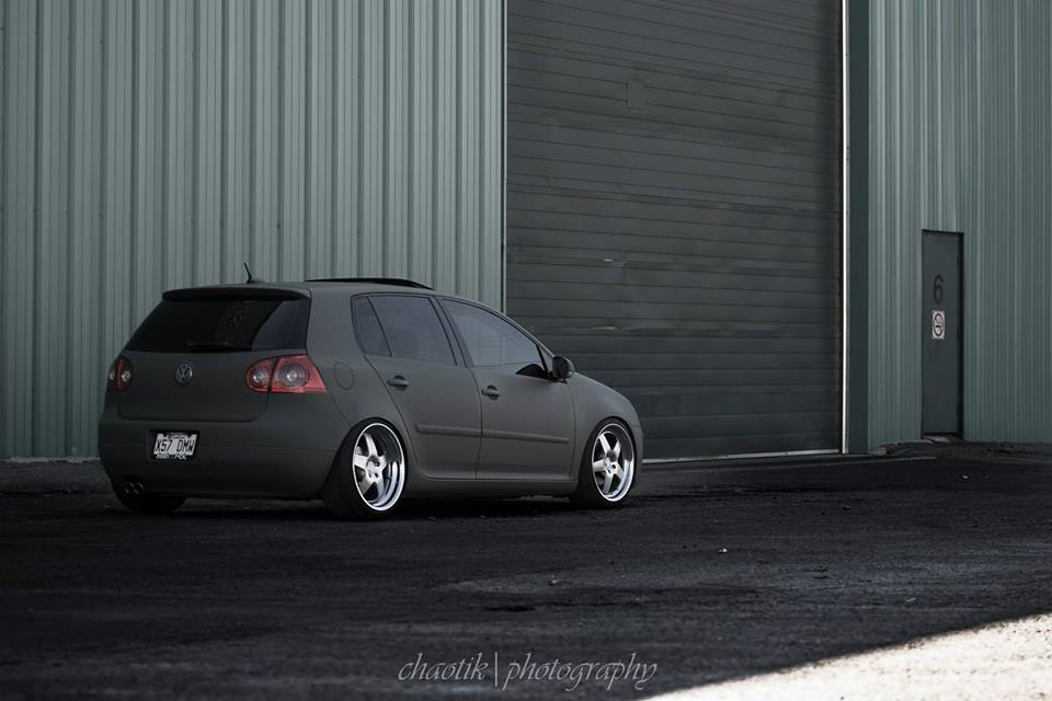 flat army green wrap vw mk5 golf gti rabbit 2.5l 2.0t tdi 4 door klutch republik SL5 18x8.5 18x9.5  slammed dropped dumped bagged static coilovers hella flush stanced stance fitment low lowered lowest camber wheels tucked 16s 17s 18s 19s 20s 3piece 1 piece custom airbags scene scenester