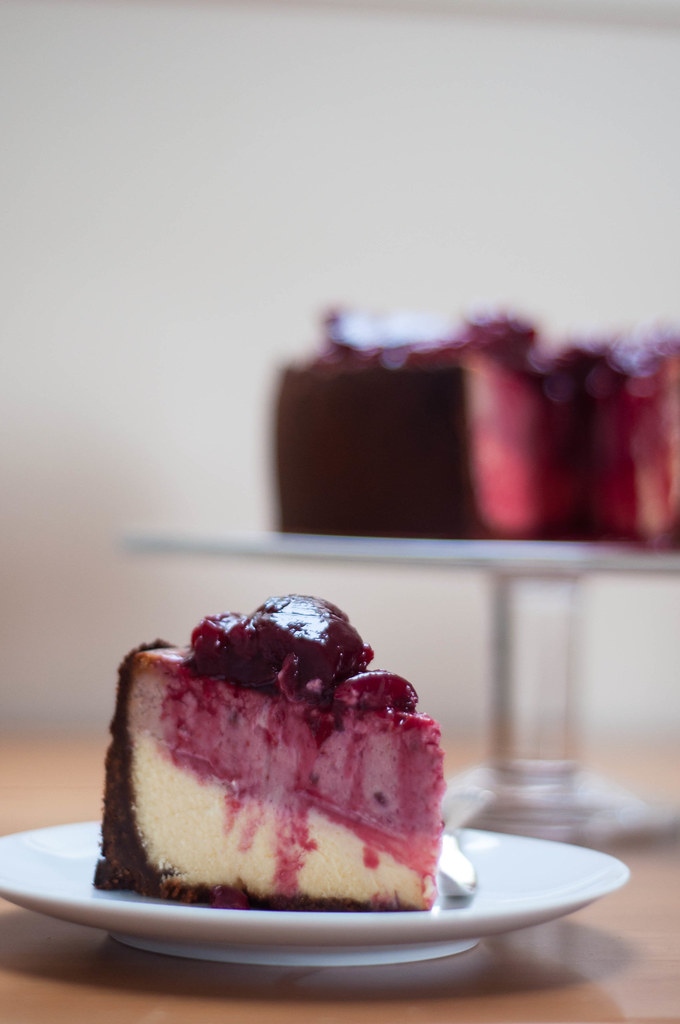double layer plum cheesecake with plum compote and malt base