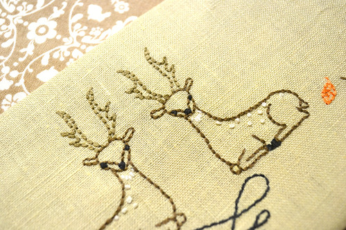 Autumn forest deers Embroidery Pattern