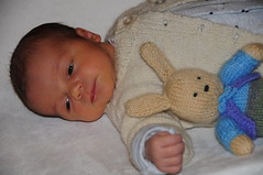 Alex in Great Grandma's Cardie