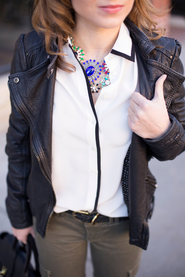 JCrew Tipped Shirt & Statement Necklace