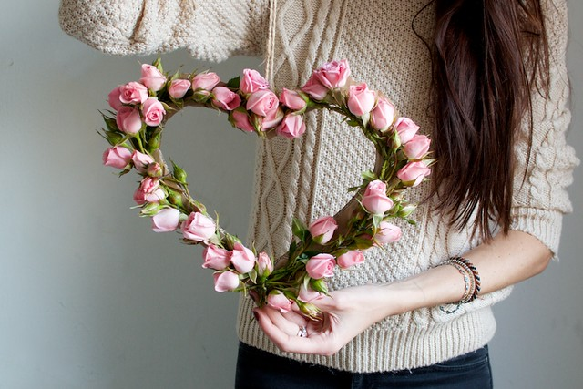 DIY floral heart wreath via A Pair & A Spare