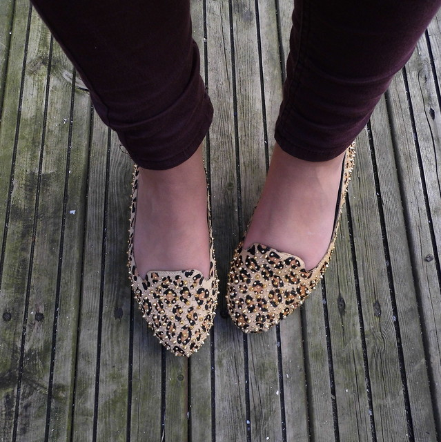 Jeffrey Campbell Spiked flat shoes leopard print and gold
