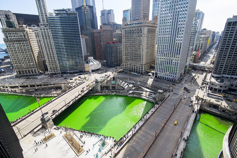 """""""Chicago Green River"""" photo from Jeff Lewis. For St. Patrick's Day, Chicago's main waterway turns bright green from the annual dye-adding tradition on March 15, 2014, which precedes the city's holiday parade."""