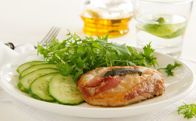 Saltimbocca with cucumber salad.