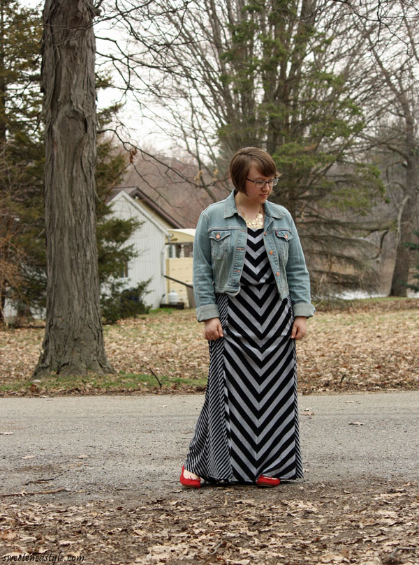 mixed prints maxi dress, denim jacket, red flats