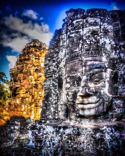 Image of Angkor Wat near Siem Reap. ankorarchaeologicalpark ankorthom bayontemple bodhisattvaofcompassion cambodia facecarvings gold holidays lokeshvara mangojouneys smiles statues topazlabs