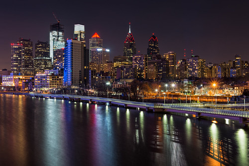 water reflections city cityscape longexposure philadelphia urban phillymanpete travel philly skyscrapers valentinesday liberty nightphotography nightscape skyline southstreetbridge cityofbrotherlylove pennsylvania unitedstates us nikon d800e