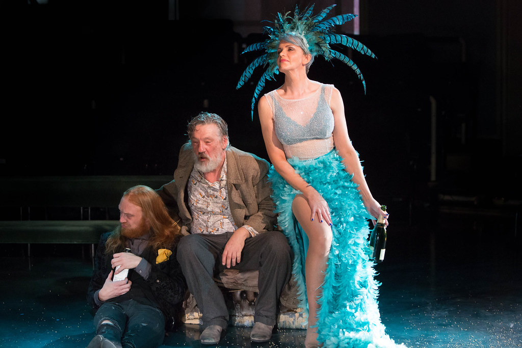 Twelfth Night - Harry Attwell (Sir Andrew Aguecheek), Kate O'Donnell (Feste) and Simon Armstrong (Sir Toby Belch) image Jonathan Keenan