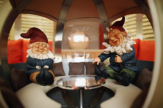 Gnomes sit on a stand at the Chelsea Flower Show