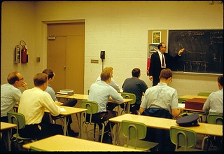 Professor J.L. Rhodes of Aerospace Engineering lectures class