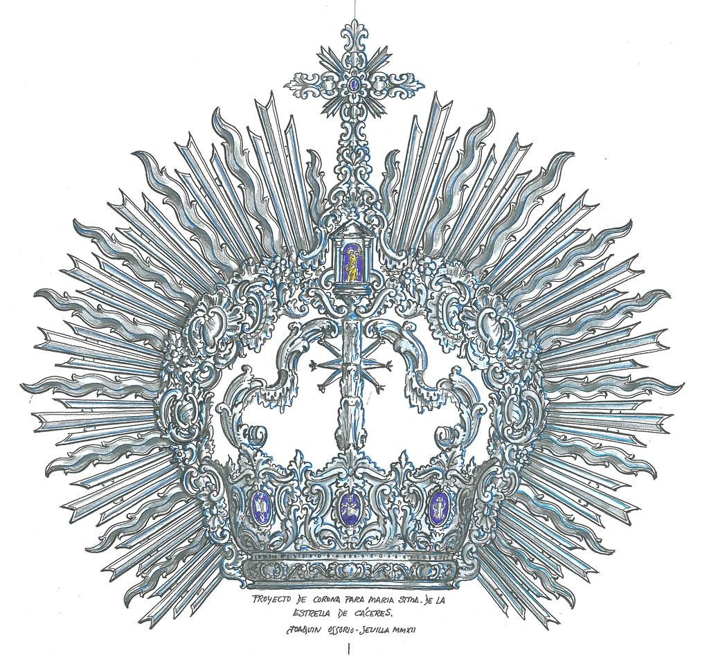 Proyecto de corona para Nuestra Señora de la Estrella, Hermandad de la Salud de Cáceres.