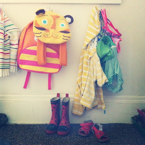 summer has arrived in the hallway. googles, swimsuits, & sandals! #summercolors13