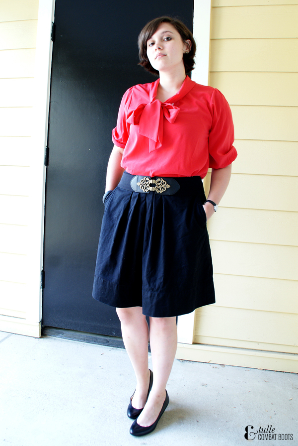 red ModCloth blouse